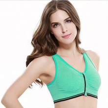 Fitness Corset Zipper Bra 2016 Multicolor body sexy Super elastic Intimates fashion Wireless Shockproof Underwear Hollow Vest