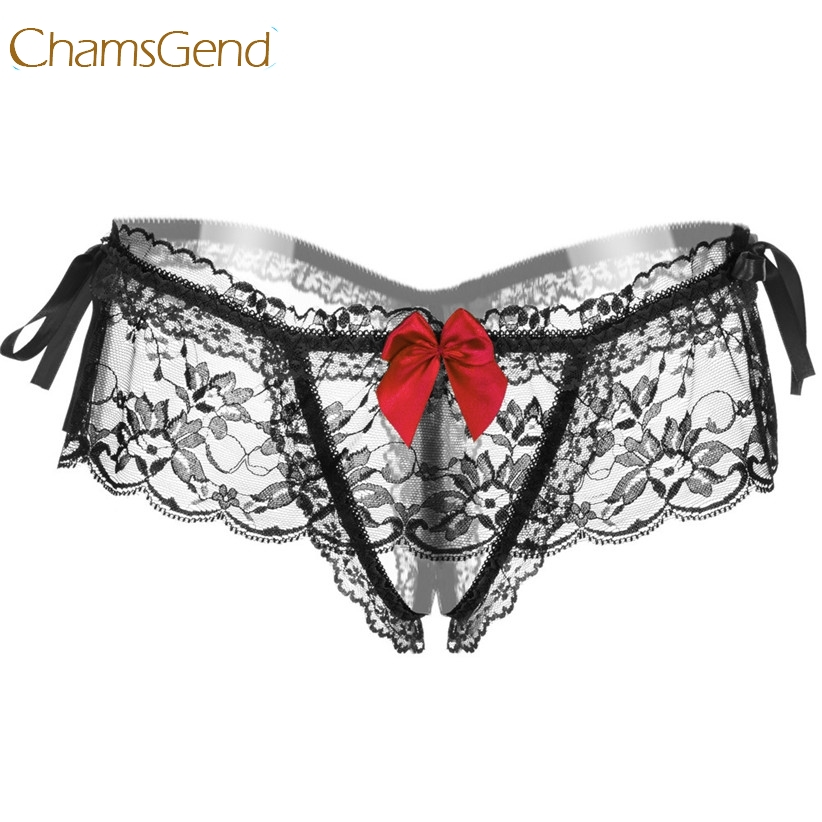 Chamsgend Women Sexy Briefs Transparent Ruffle Lace G-String Bowknot Ribbon Bow Exotic Underwear Intimate Thongs 170522