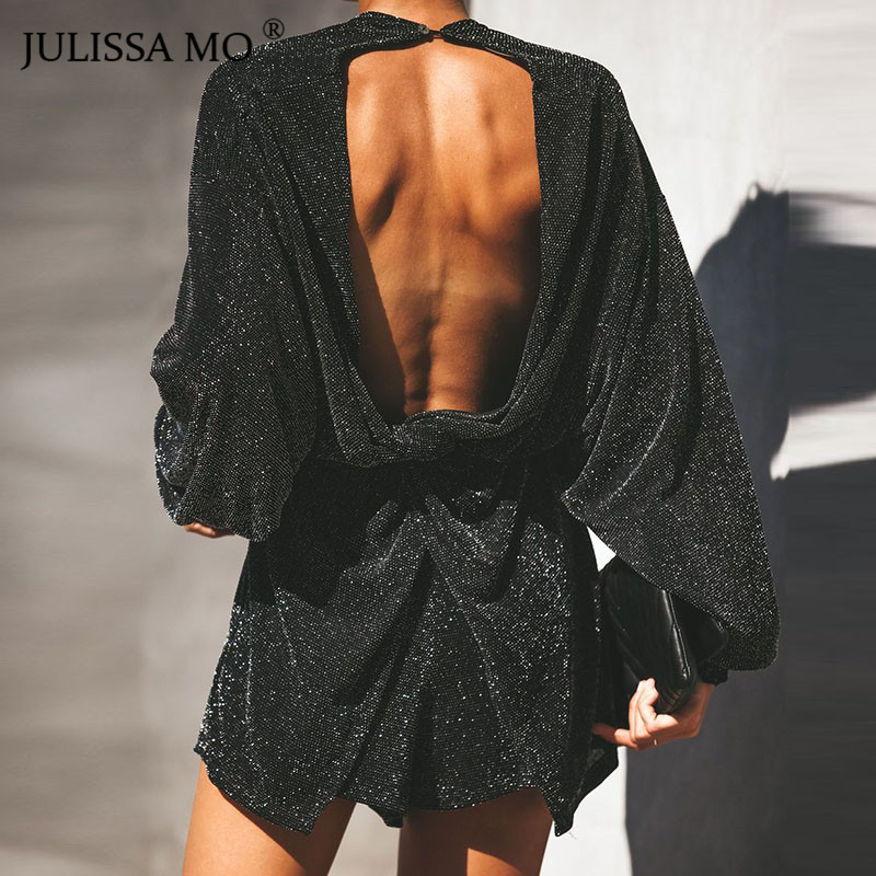 JULISSA MO Sparkly Sexy Backless Short Jumpsuit Women Rompers Autumn V Neck Puff Sleeve Loose Playsuit 2018 Casual Overalls
