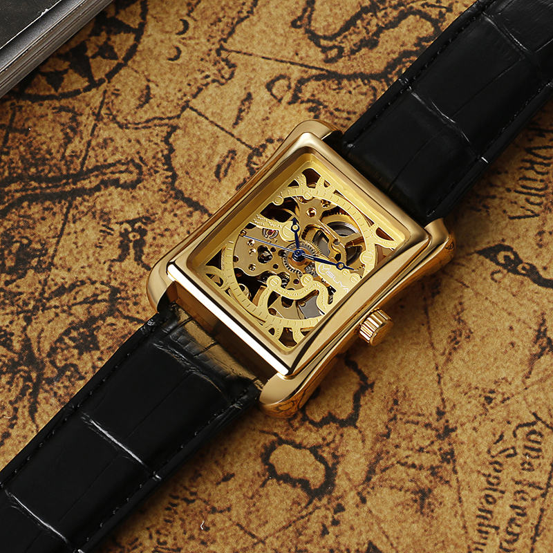 YISUYA Luxury Rectangle Pattern Black Leather Women Wrist Watch Retro Gold Skeleton Dial Mechanical Watches Mujer Relojes