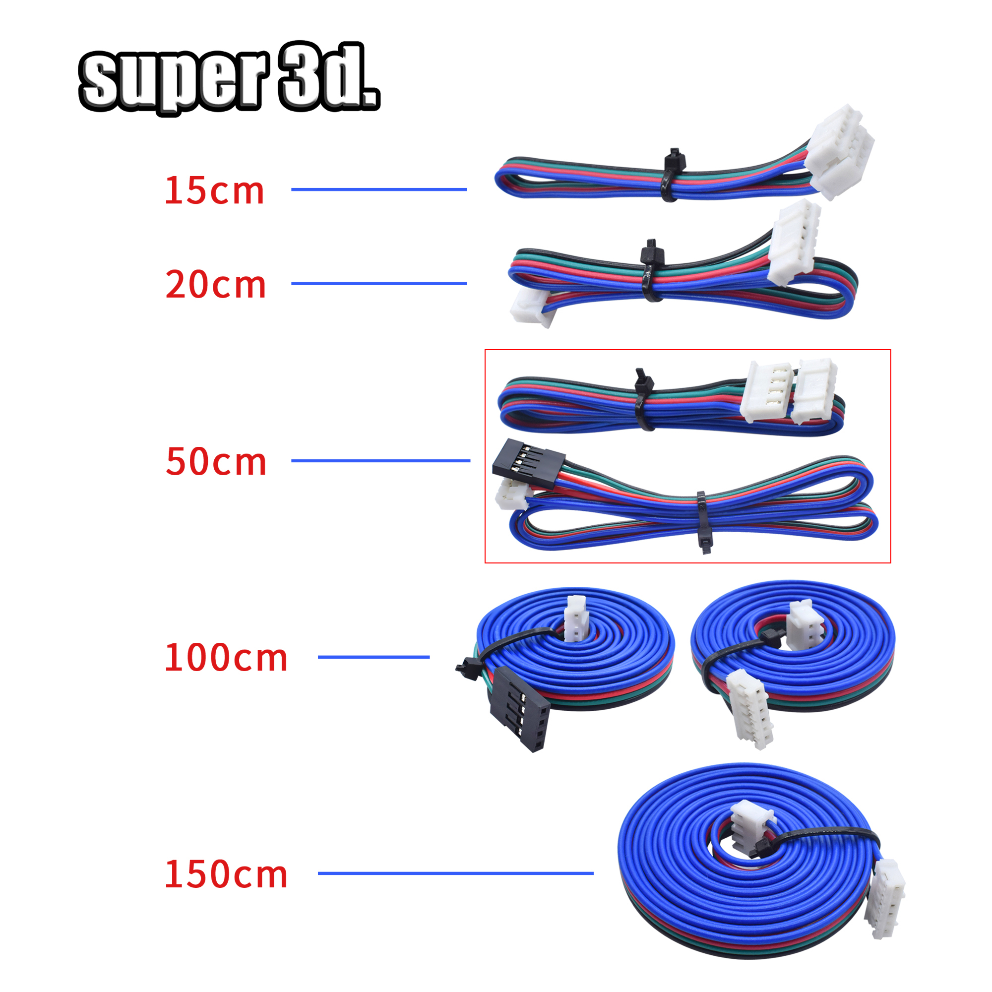 50cm/100cm/150cm Stepper Motor Cables/wire XH2.54 4pin DuPont Connector Extension  To 6pin White Terminal Line 3D Printer Parts