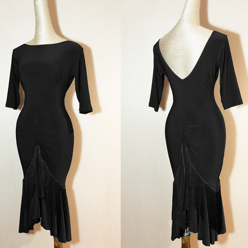 Latin Dance Dress Black Short Sleeve Tassel Bag Hip Skirt Salsa Dresses For Women Tango Clothes