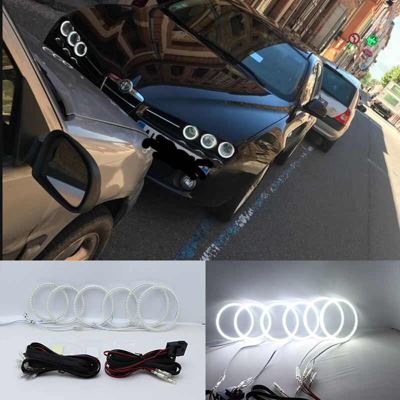 Ultra bright SMD white LED angel eyes halo ring kit daytime running light DRL for Alfa Romeo 159 2005-2011 Car Styling new 2pcs 120mm x 100mm square guide angel eyes with shrouds car styling drl halo ring super bright