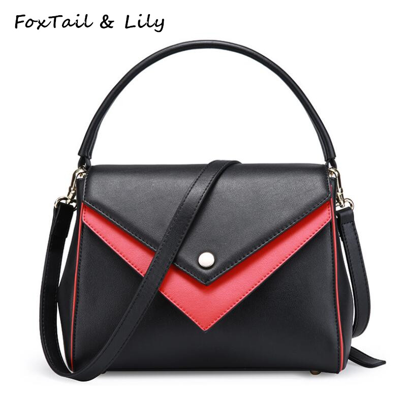 FoxTail & Lily European Style Genuine Leather Handbags Luxury Shoulder Women Bags Designer Crossbody Panelled Messenger Bags foxtail
