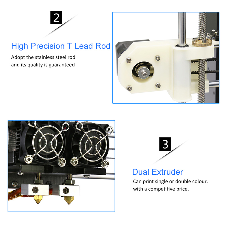 FDM Dual Extruder Prusa i3 3D Printers Kit Anet A8M Large Size Printing Platfor DIY Desktop LCD2004 3D Printer with PLA Filament in 3D Printers from Computer Office