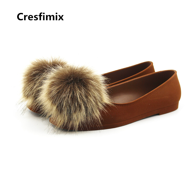 Cresfimix sapatos femininos women cute spring slip on flat shoes with fur ball female casual soft summer flats lady cool shoes cresfimix sapatos femininos women casual soft pu leather pointed toe flat shoes lady cute summer slip on flats soft cool shoes