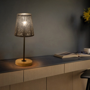 Image 2 - OYGROUP Wrought Iron Hollow Lamp Shade + Wood Base, E14 Table Lamp for Bedside Study Room Living Room No Bulb