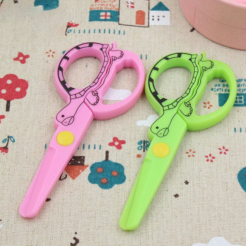 Cartoon Turtle Printed Plastic Scissors Stationery Paper Cutter Kids Safe Scissors Craft DIY Album Lace Shear Art School Supply