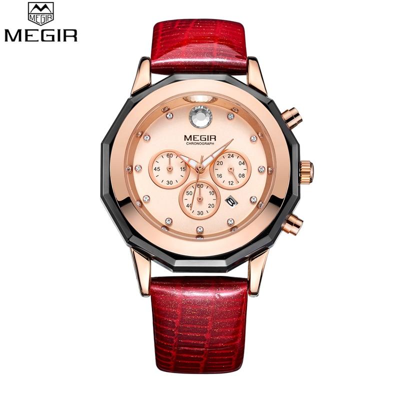 Megir Fashion Red White Watch Prawdziwy skórzany pasek Kobiet - Zegarki damskie - Zdjęcie 6