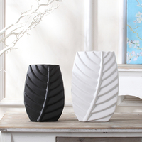 white and black new house creative ceramic leaves shape flower vase handmade modern home ornamnets ceramic craft home decoration