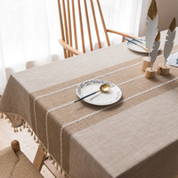Linen table cloth Japan & Korean rectangular tassel decorative tablecloths wedding party table cover splice design tablecloth