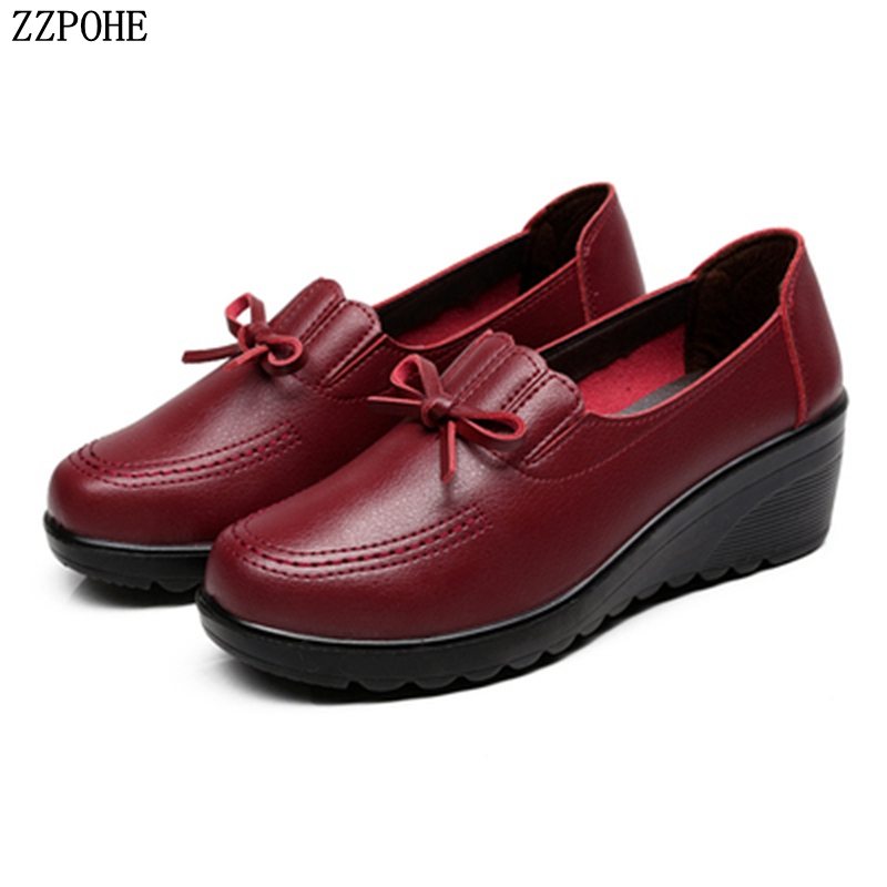 ZZPOHE Autumn New Fashion Slip On Women High Heels Shoes Woman Wedges Leather Single Casual Shoes Comfortable Women Pumps 35-41