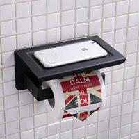 Cep Telefonu ile avrupa Tarzı Siyah Kağıt Havlu Raf Raf Standı Raf Duvar Montaj Banyo Aksesuarları Tutucu Vt10