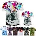 2016New Verano Diseñador 3D Imprimió la Camiseta Los hombres de Manga Corta Camiseta Hombres Camiseta M-4XL Creativa bosque