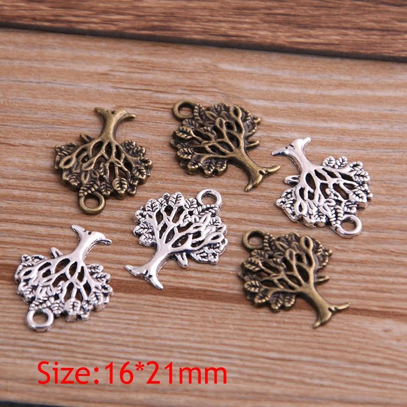 30PCS 16*21mm Plant Charms Tree Pendant Two Color DIY Retro Jewelry Bracelet Necklace Charms Pendant 2