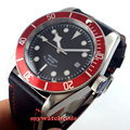 41mm corgeut schwarz zifferblatt rot lünette 21 juwelen miyota Automatische tauchen herren uhr-in Mechanische Uhren aus Uhren bei