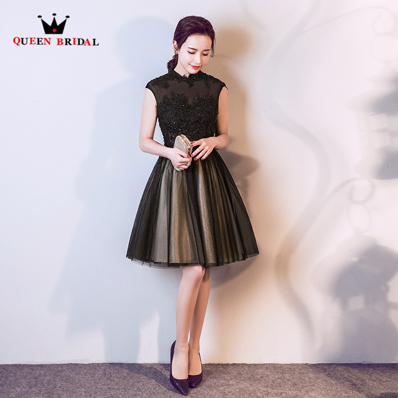 7ed80539b4a A-line High Neck Tulle Lace Pearls Beaded Black Short Evening Dresses 2018  New Design Party Prom Dress Evening Gown ES18