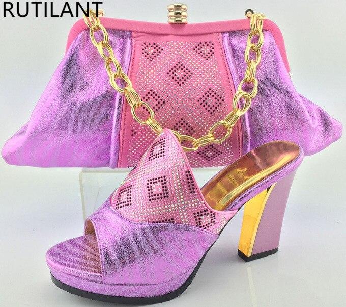 Mujeres Rhinestone Establece Bolsas Rosa oro Bolsa azul Conjunto Africanas 2017 Con Decorado rosado Peach Italianas Señoras Color África Zapatos De Y wpqx6Z