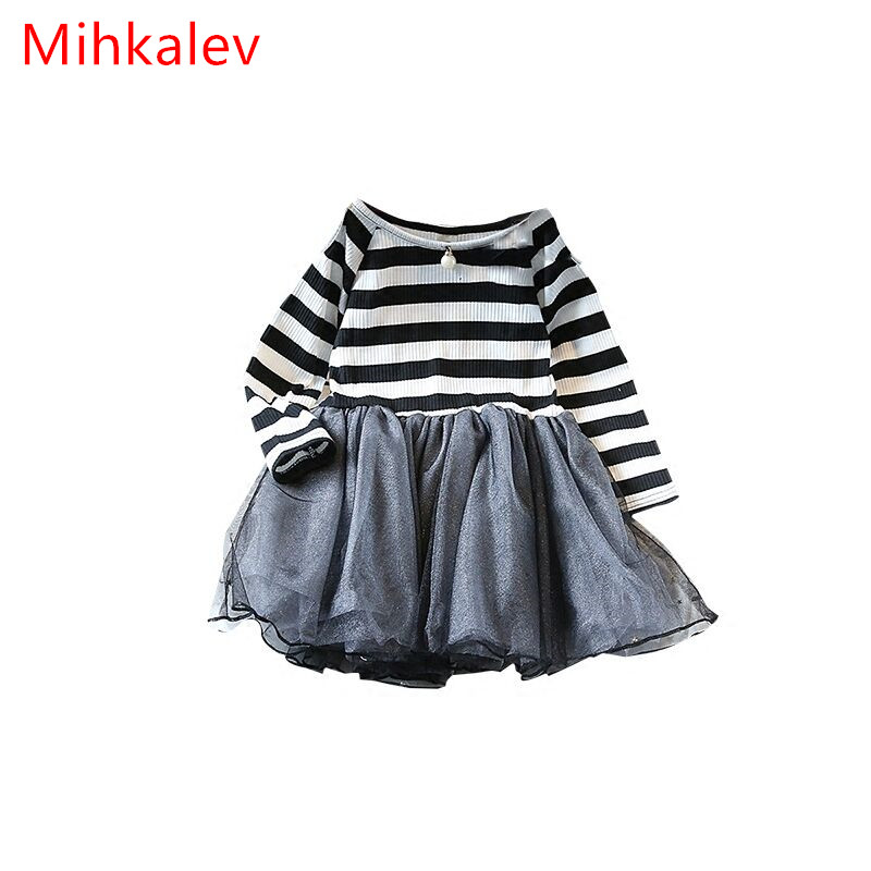 цены  Mihkalev Striped long sleeve Girl Dress Kids Clothes 2017 Autumn Princess Dres for girls party clothing children tutu dress