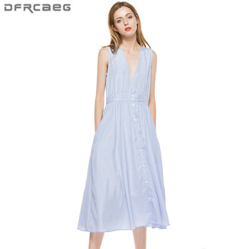 Blue Striped Summer Dress For Women 2018 Fashion Sexy Deep V-Neck Sleeveless Dresses With Pocket Casual Vestidos  Femme