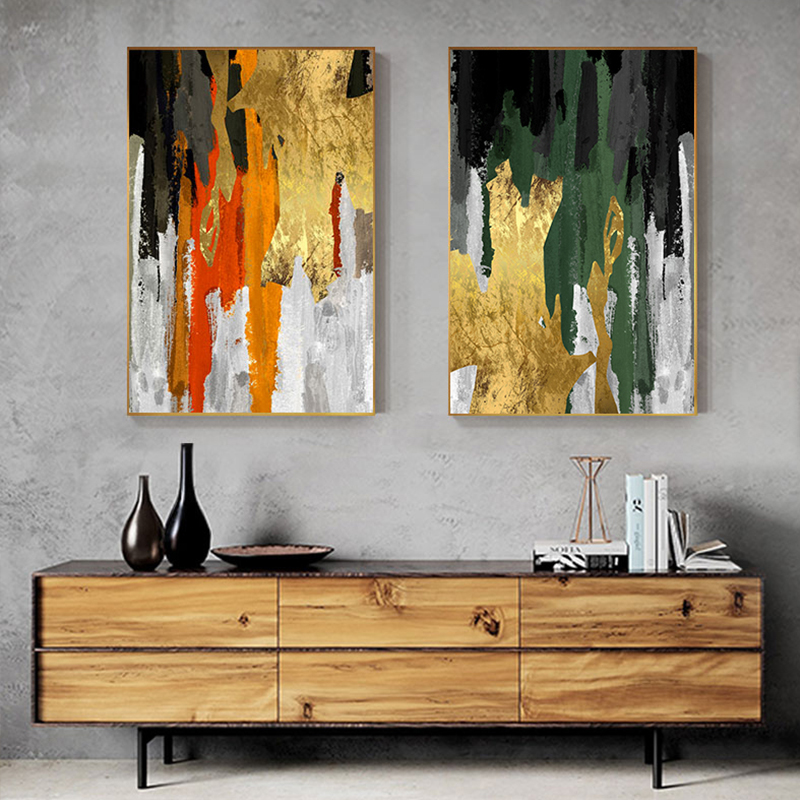 Abstract Gold Color Block Painting Foil Poster Print Quadro Wall