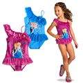 2016 Summer Cartoon Baby Girls Swimwear Cute Elsa Anna Princess Swimsuit Kids Bikini Skirt 2-6Y Children Swimsuit For Girl c10
