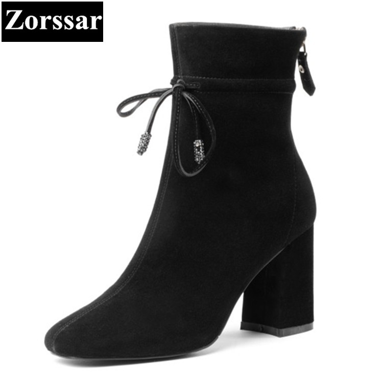 {Zorssar}2018 NEW fashion High heels Women Boots Kid Suede pointed Toe thick heel ankle snow boots autumn winter female shoes
