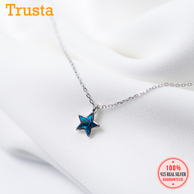 Trusta 100% 925 סטרלינג מוצק כסף שרשרת נשים ילדה מתוק כוכב כחול CZ 40 cm קצר עצם הבריח שרשרת עבור Teen תכשיטי DS981