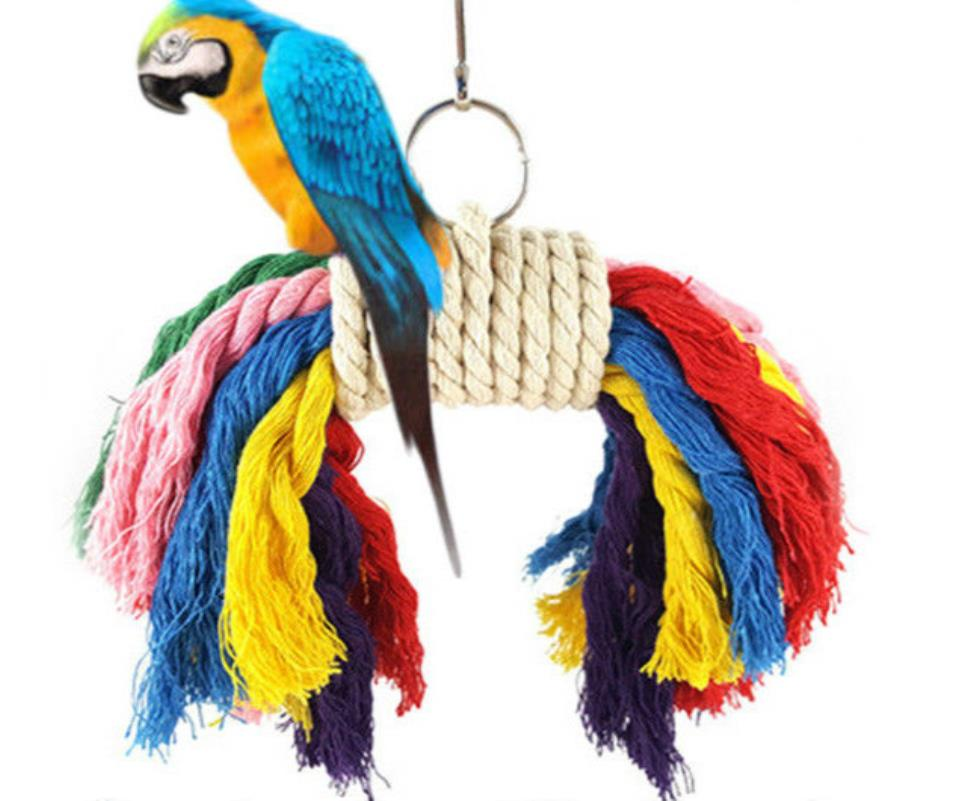 1pc Colorful Parrot Swing Bird Toy Parakeet Cockatiel Budgie Rope Harness CageToys 20x7x20cm