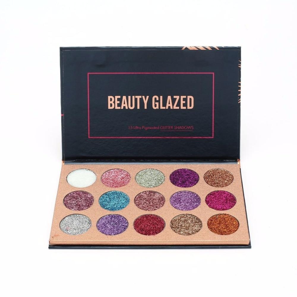 Beauty Essentials Beauty Glazed Portable Eyeshadow Palette 15 Ultra Pigmented Eye Shadows Pressed Glitter Flash Powder Long Lasting Makeup Pallete