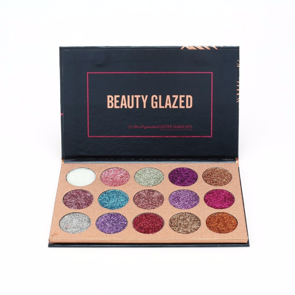 BEAUTY GLAZED Portable Eyeshadow Palette 15 Ultra Pigmented Eye Shadows Pressed Glitter Flash Powder Long Lasting Makeup Pallete