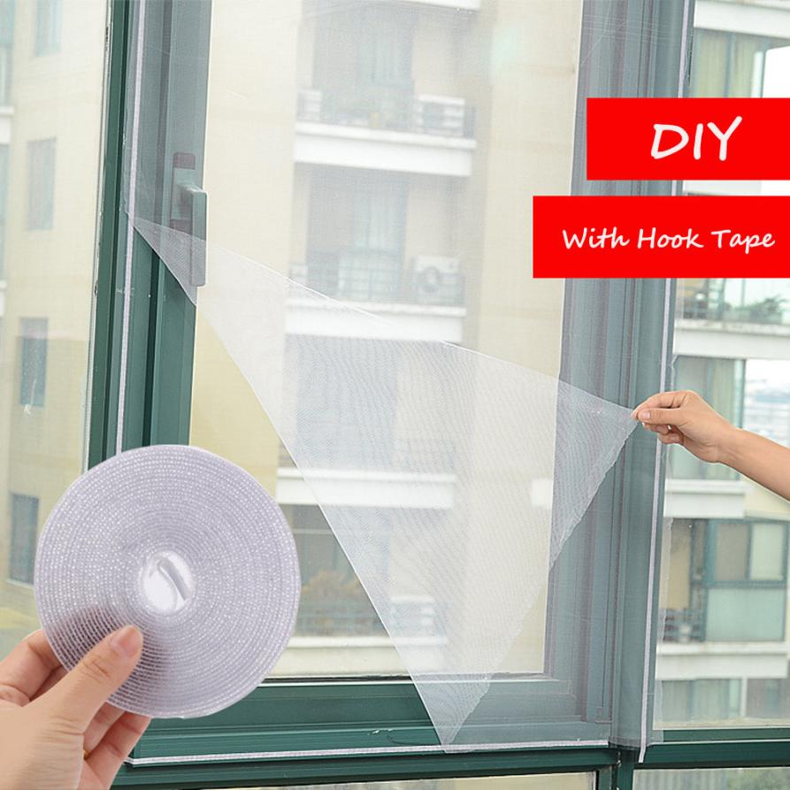 New Qualified Dropship 1Pc DIY Adhesive Anti-Mosquito Bug Insect Curtain Mesh Door & Window Screen With 2Pc Hook Tape Sep20