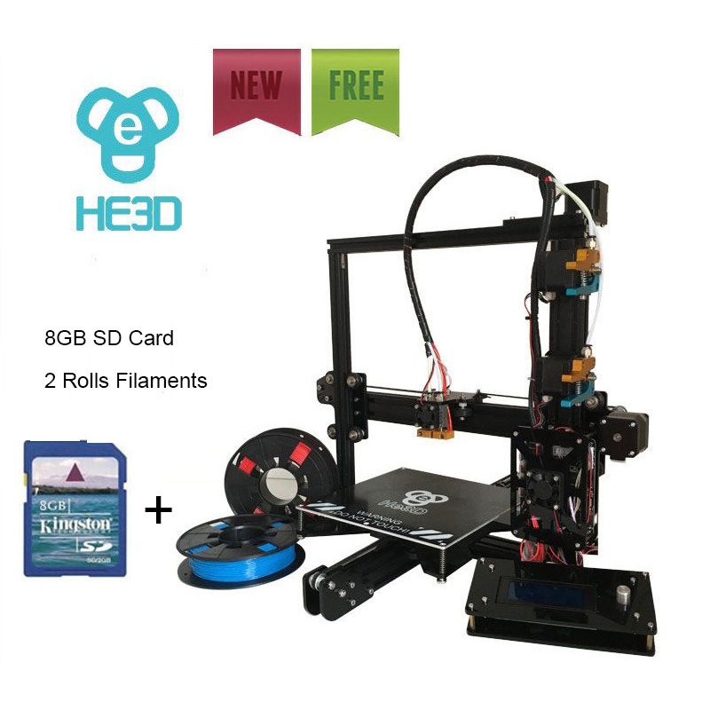 2017 New upgrade reprap auto level HE3D EI3 dual flex aluminium extruder diy 3D printer heat bed 200*200*200mm printing size vorxtec pv027 6 5x15 5x112 d73 1 et45 wrl