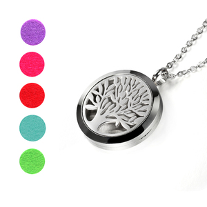 Image 4 - Top Sale Fashion Tree of Life 20mm/25mm/30mm Perfume Locket 316L Stainless Steel Essential Oil Diffuser Locket Pendant Necklace