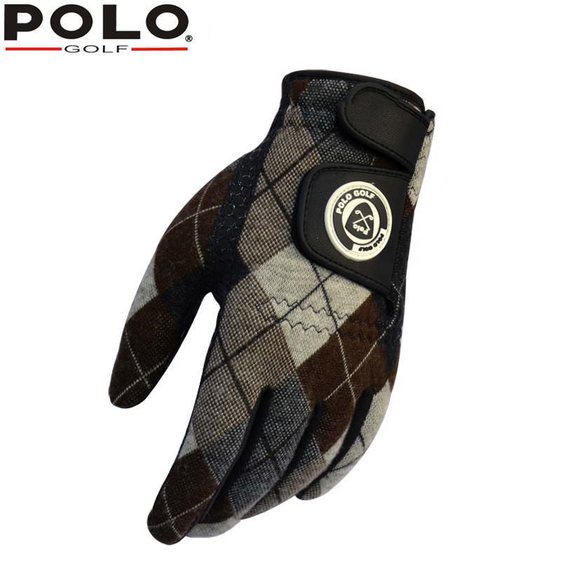 Winter POLO golf mens gloves Outdoor sports gloves plus cashmere warm Non-slip pair of right and left hands synthetic leather