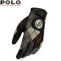 Winter POLO golf men's gloves Outdoor sports gloves plus cashmere warm Non slip pair of right and left hands synthetic leather