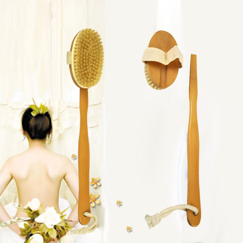 Bathroom Accessories Bath Body Brush Boar Bristles Exfoliating Body Massager with Long Wooden Handle for Dry Brushing and 5.25