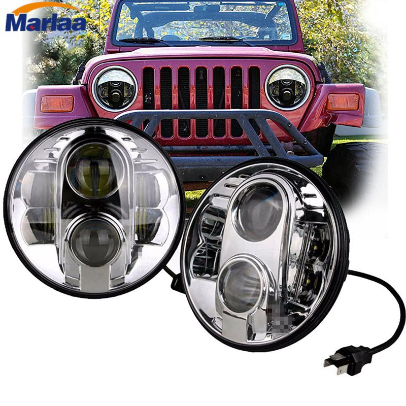 7 Inch 80W Round LED Projector Headlights with H4 DRL for Jeep Wrangler JK LJ CJ Harley Davidsion Motorcycle 7 inch 80w round led headlights high