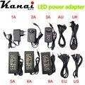 Power Adapter Supply For SMD5050 3528 Led Flexible Tape Light AC110-220V to DC12V 1A 2A 3A 4A 5A 6A EU/US/UK/AU Cord Plug Socket