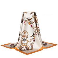 Модные В виде ракушки печати 100% шелка саржевого шарф платок обертывания площади Шелковый scrarves Размеры 90x90 см