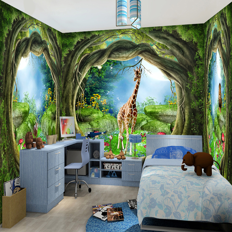 3d stereo fantasy fairy forest tree animal house theme for Children mural wallpaper