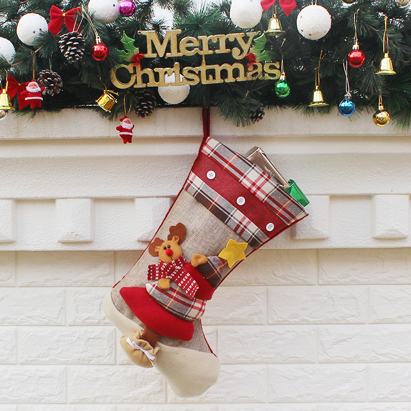1pc Christmas Stockings Hand Making Crafts Children Candy Gift Bag Santa Elk The Old Man Snowman Xmas Present For New Year In Holders