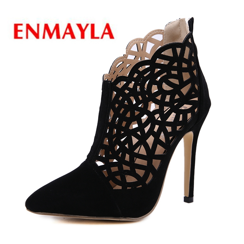 ENMAYLA 2019 New Arrival Pumps Women  Flock  Basic  Super High  Pointed Toe  Casual  Shoes Woman Size 34-40 LY1055 basic pump