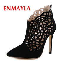 ENMAYLA 2019 New Arrival Pumps Women  Flock Basic Super High Pointed Toe Casual Shoes Woman Size 34-40 LY1055