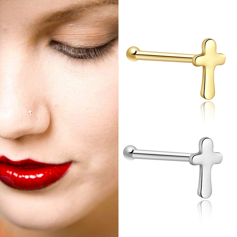 1pc Real Pure 925 Sterling Silver Cross Nose Rings And Studs