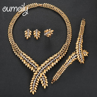 OUMEILY Jewelry Sets Women Gold Color African Beads Jewelry Set Imitation Crystal Dubai Leaves Jewelry Sets Nigeria Jewellery