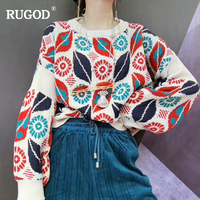 RUGOD 2018 Women O neck Long Sleeve Christmas Sweater Pattern Female Pullover Casual High Quality Loose Pull Femme Hiver harajuk