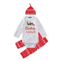 Winter Baby Boy Clothing Set 2017 Fashion Christmas Reindeer Romper Geometry Pant Cap 3pcs Girl Boy