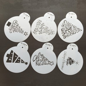 Image 4 - 6pcs/set Christmas Tree Cake Lace Stencils Wedding Party Cookie Mould Cupcake Decoration Template Cake Tool