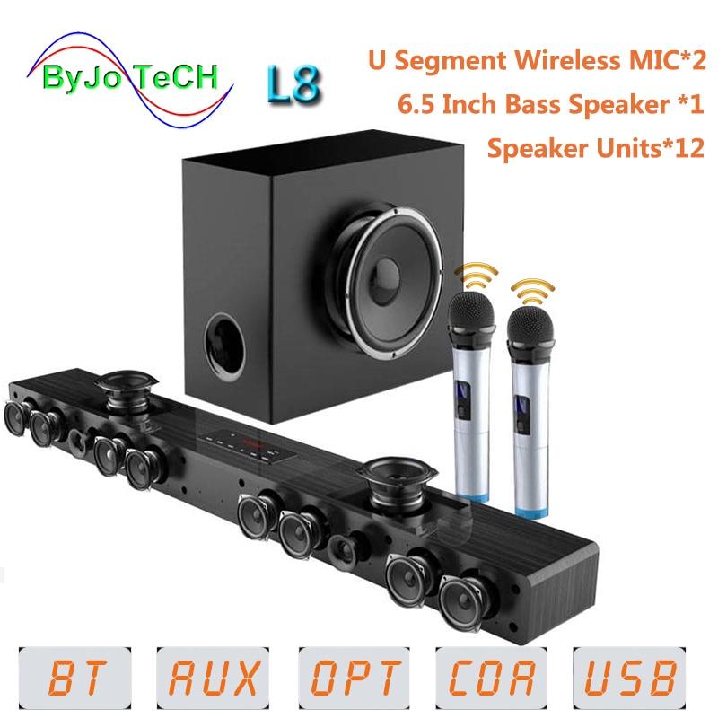 Amoi L8 barre de son Bluetooth tenture murale bois pur tv haut-parleur Subwoofer 3D surround son home cinéma 12 haut-parleurs